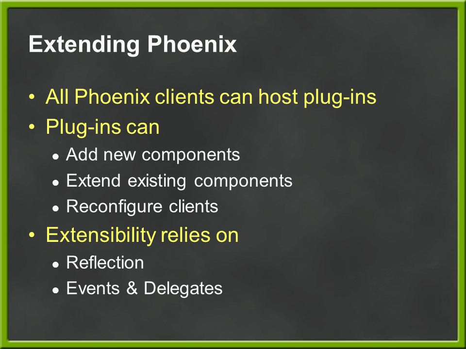 Extending Phoenix All Phoenix clients can host plug-ins Plug-ins can