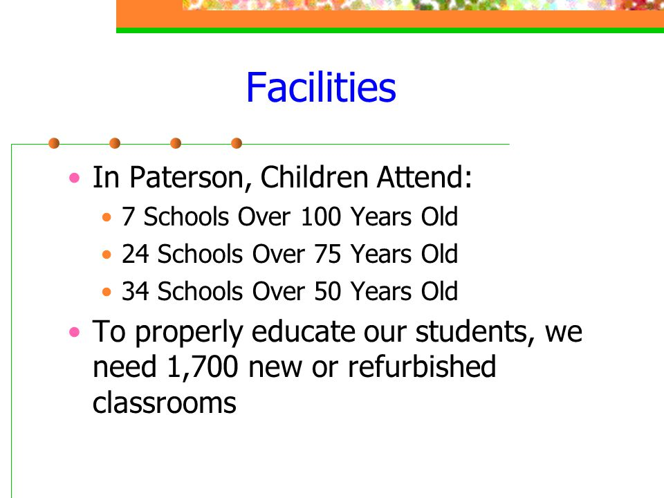 Facilities In Paterson, Children Attend: