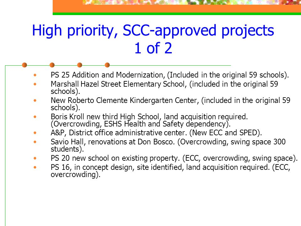 High priority, SCC-approved projects 1 of 2