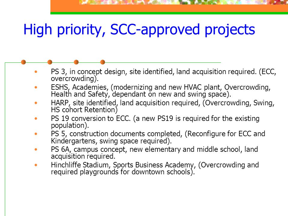 High priority, SCC-approved projects