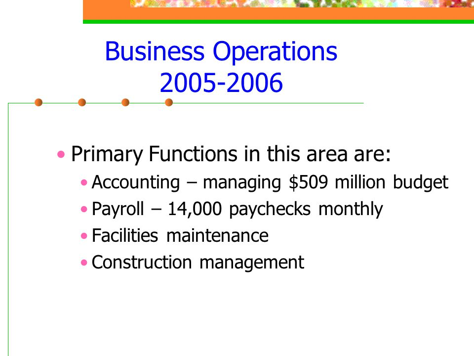 Business Operations 2005-2006 Primary Functions in this area are: