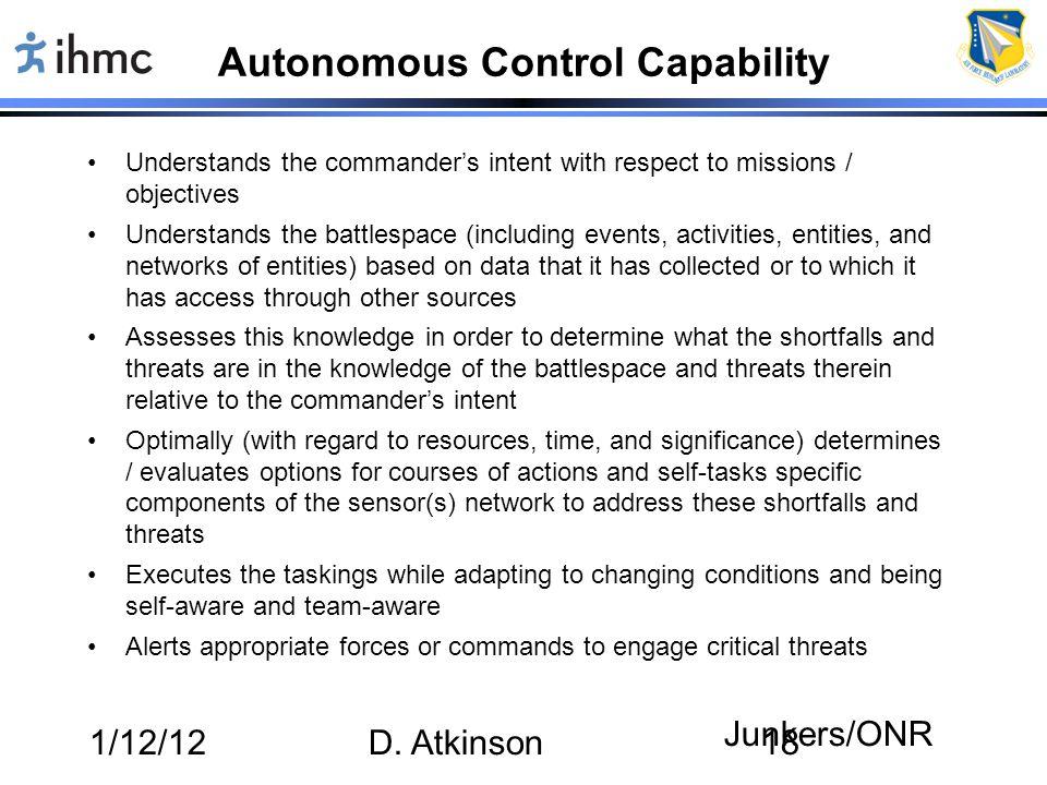 Autonomous Control Capability
