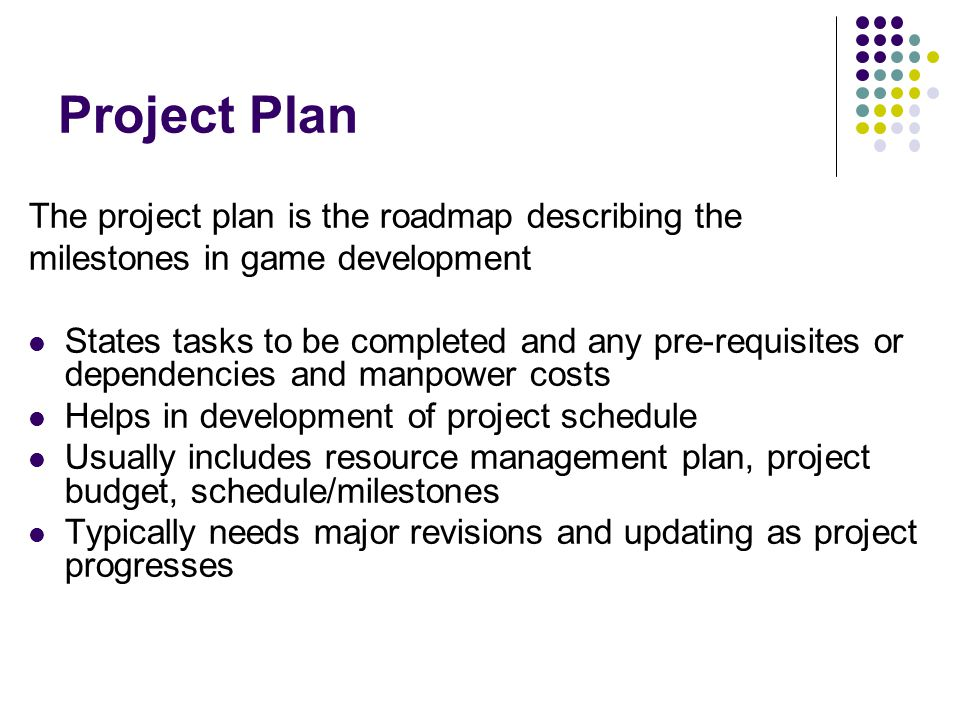 Project Plan The project plan is the roadmap describing the