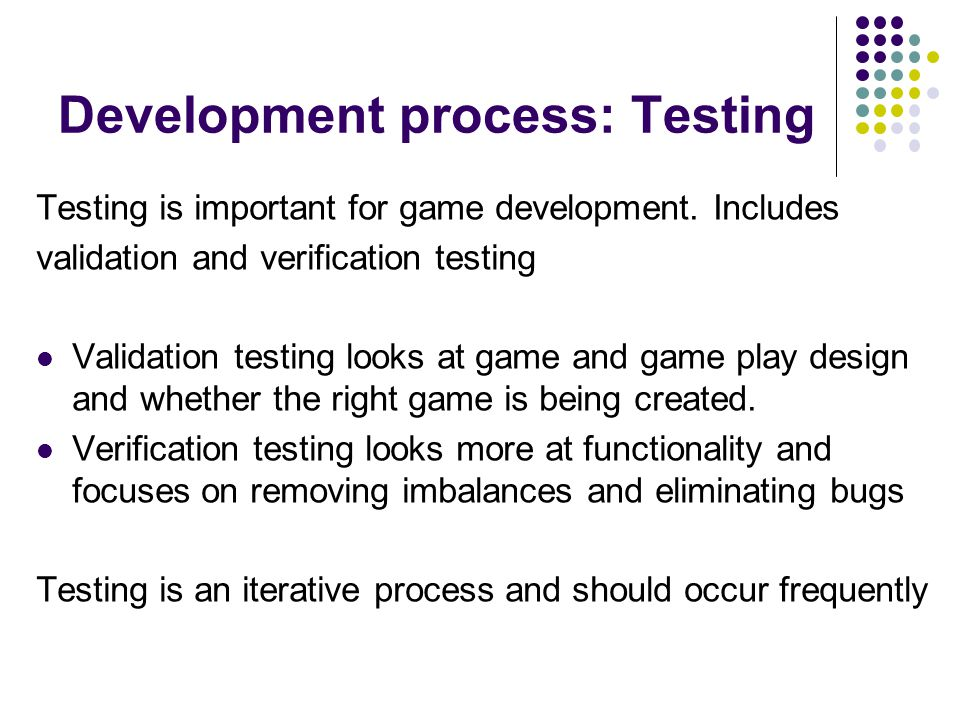 Development process: Testing
