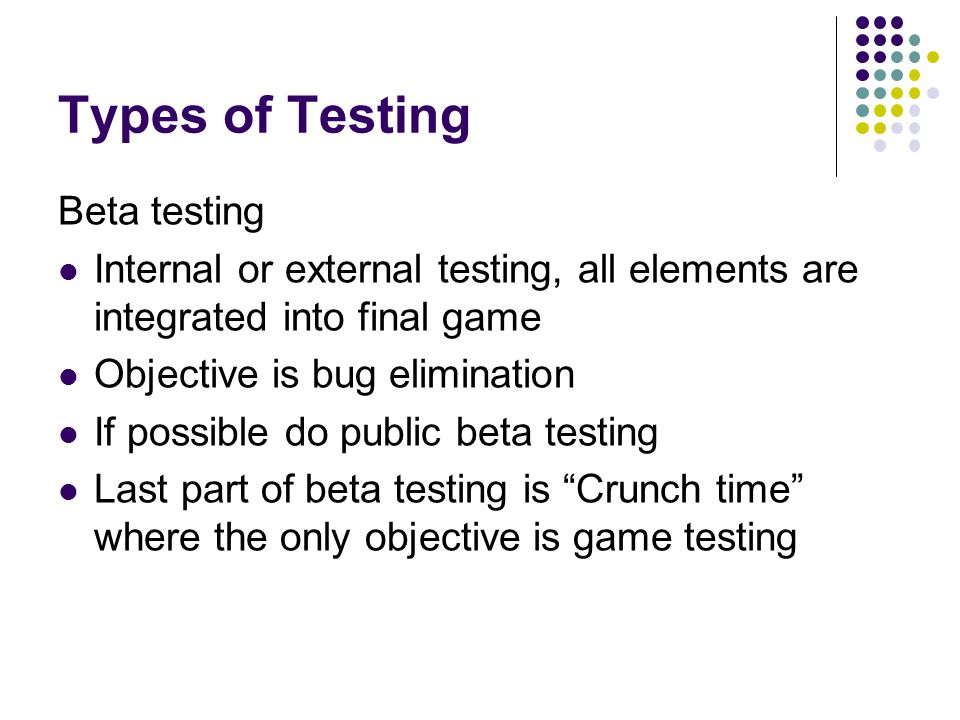 Types of Testing Beta testing