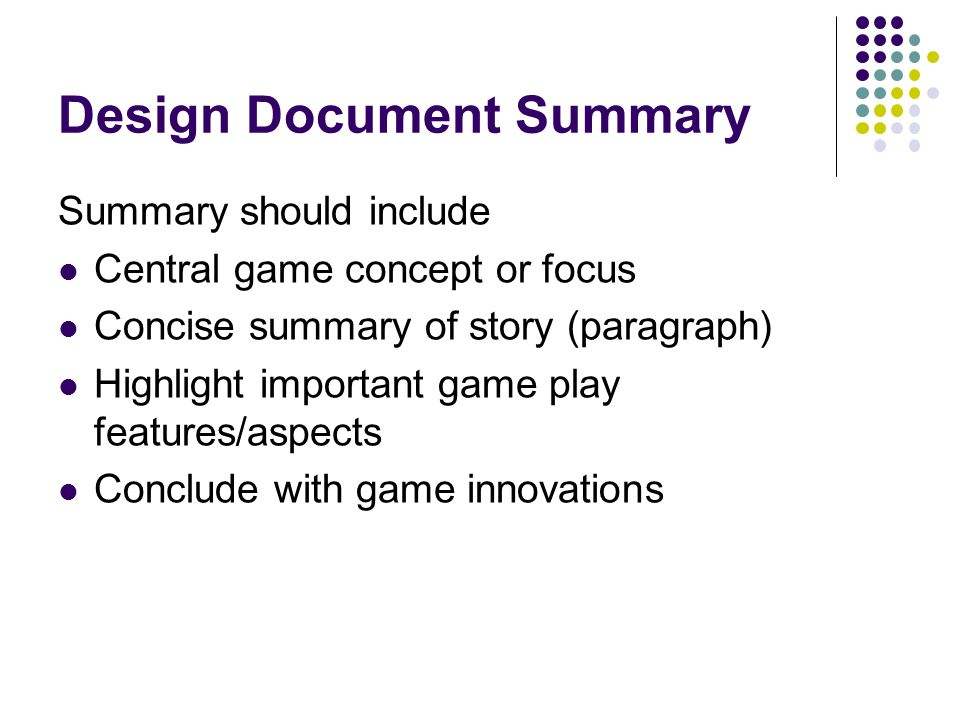 Design Document Summary