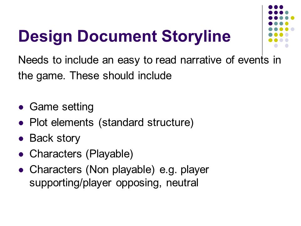 Design Document Storyline