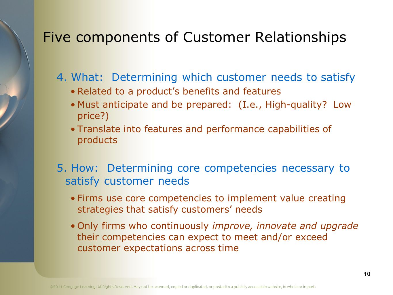 Five components of Customer Relationships
