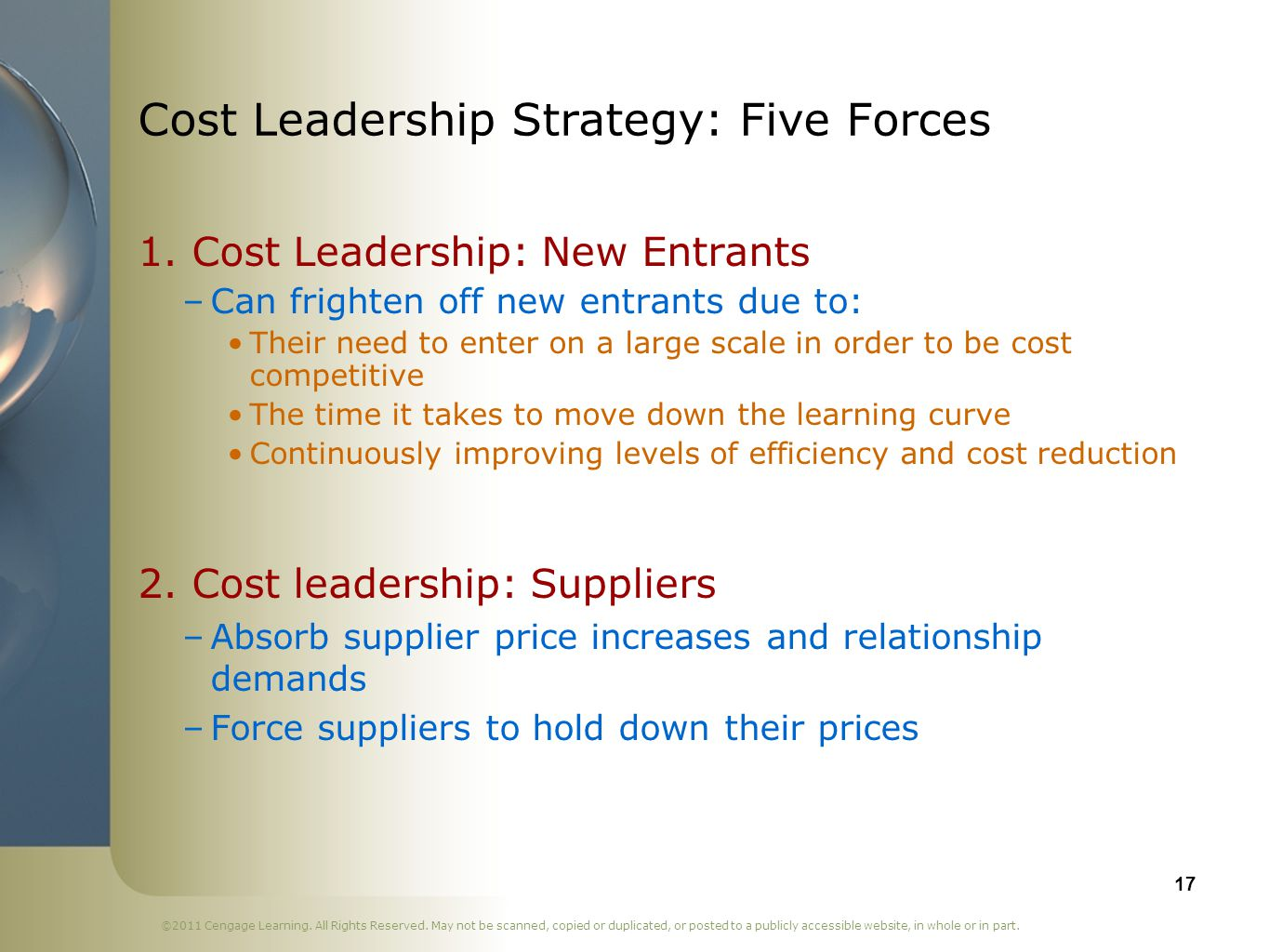 Cost Leadership Strategy: Five Forces