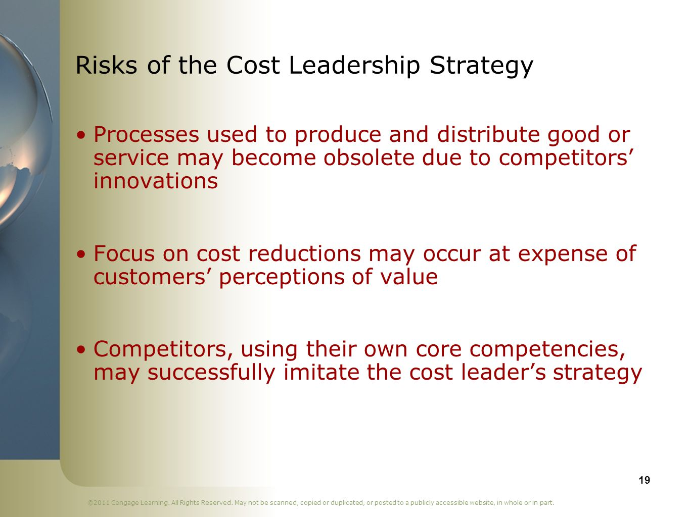 Risks of the Cost Leadership Strategy