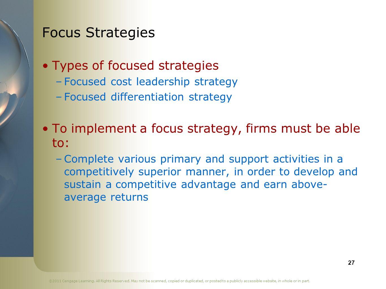 Focus Strategies Types of focused strategies