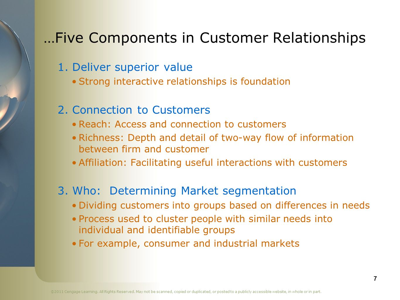 …Five Components in Customer Relationships