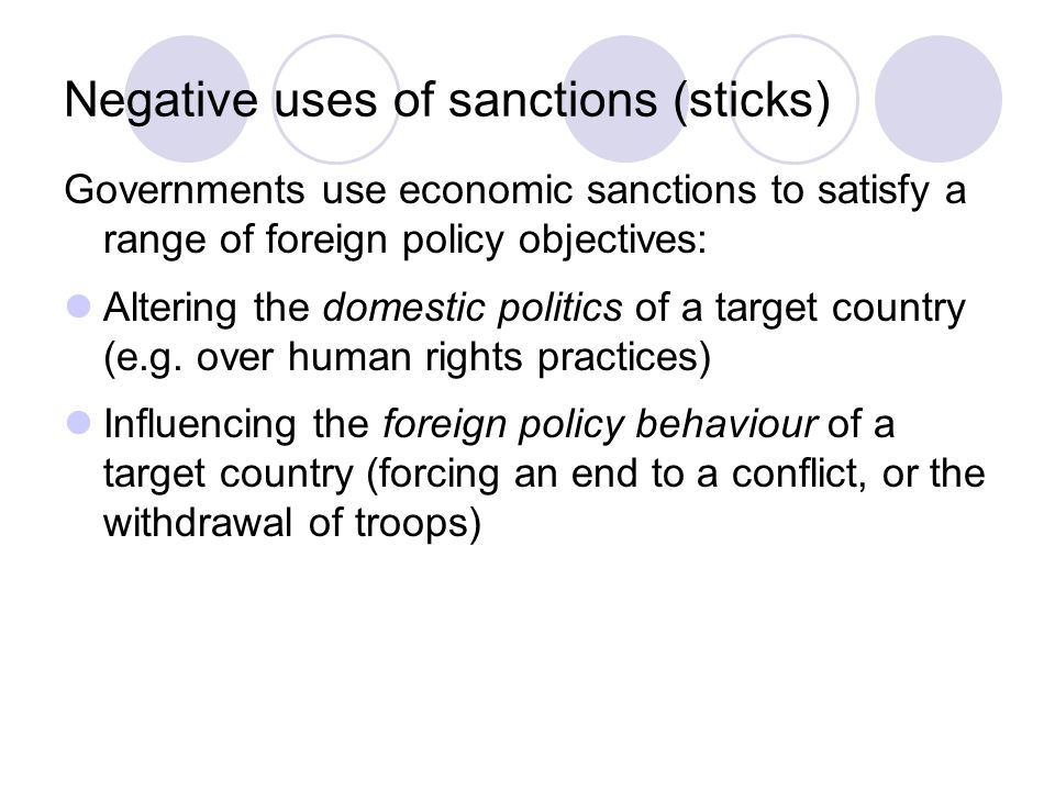 Negative uses of sanctions (sticks)