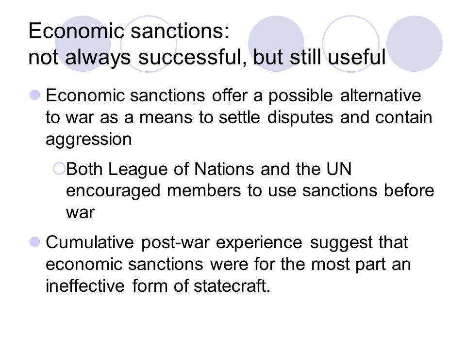 Economic sanctions: not always successful, but still useful