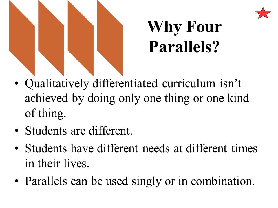 Why Four Parallels Qualitatively differentiated curriculum isn't achieved by doing only one thing or one kind of thing.
