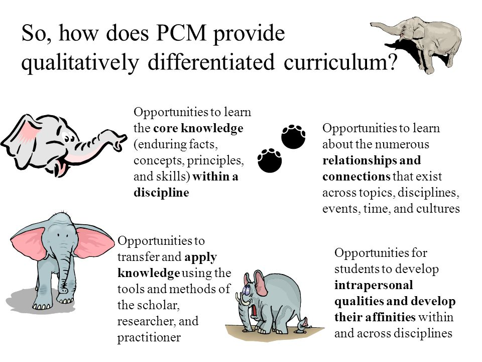 So, how does PCM provide qualitatively differentiated curriculum