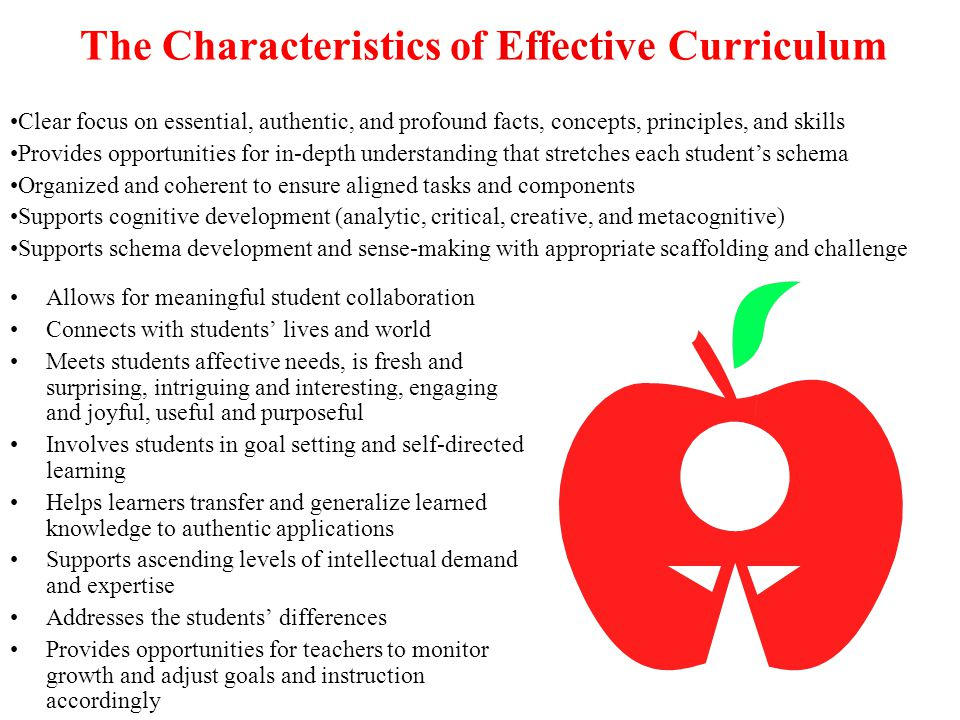 The Characteristics of Effective Curriculum