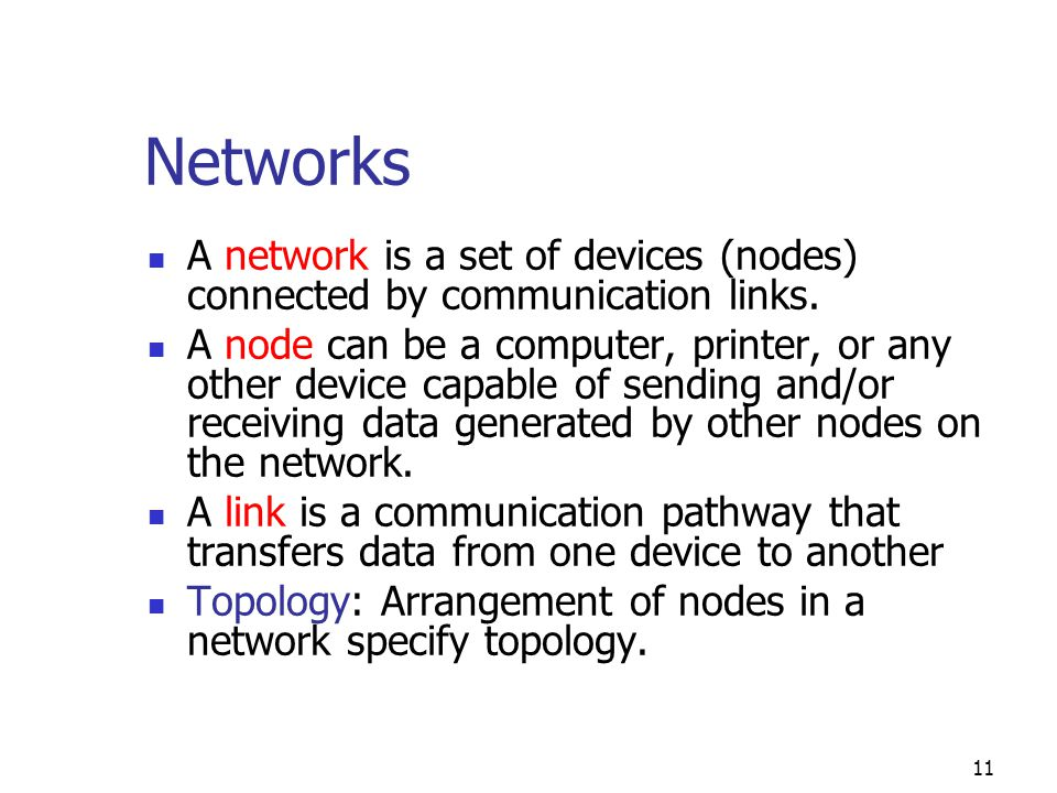 Networks A network is a set of devices (nodes) connected by communication links.