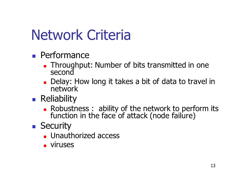 Network Criteria Performance Reliability Security