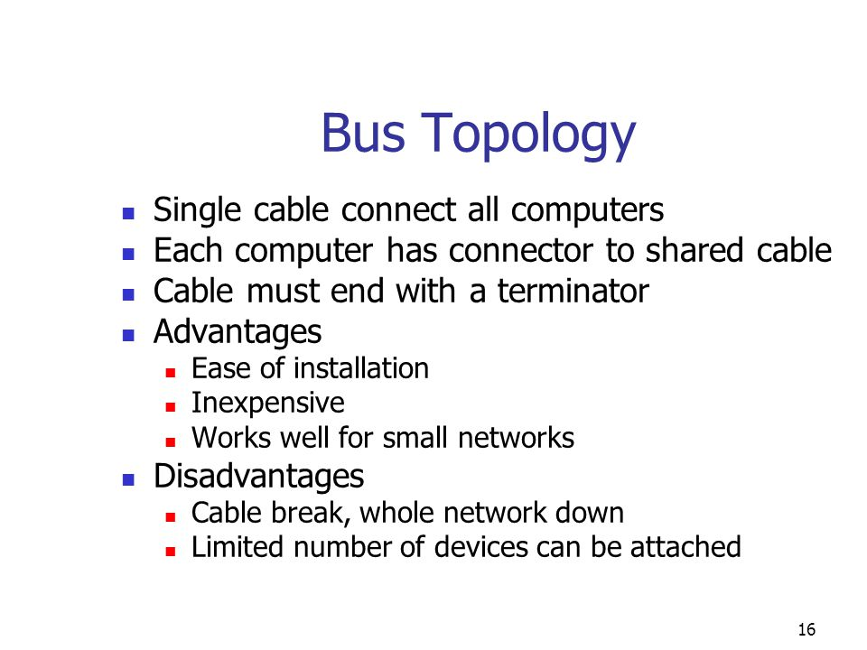Bus Topology Single cable connect all computers