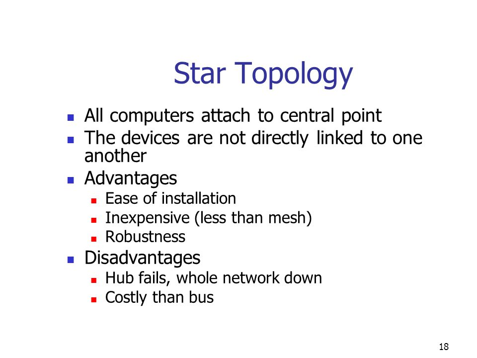 Star Topology All computers attach to central point