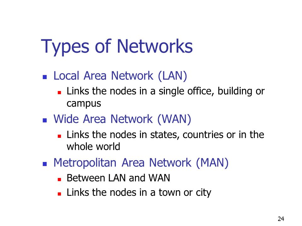 Types of Networks Local Area Network (LAN) Wide Area Network (WAN)