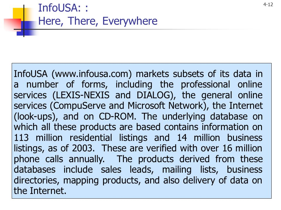 InfoUSA: : Here, There, Everywhere