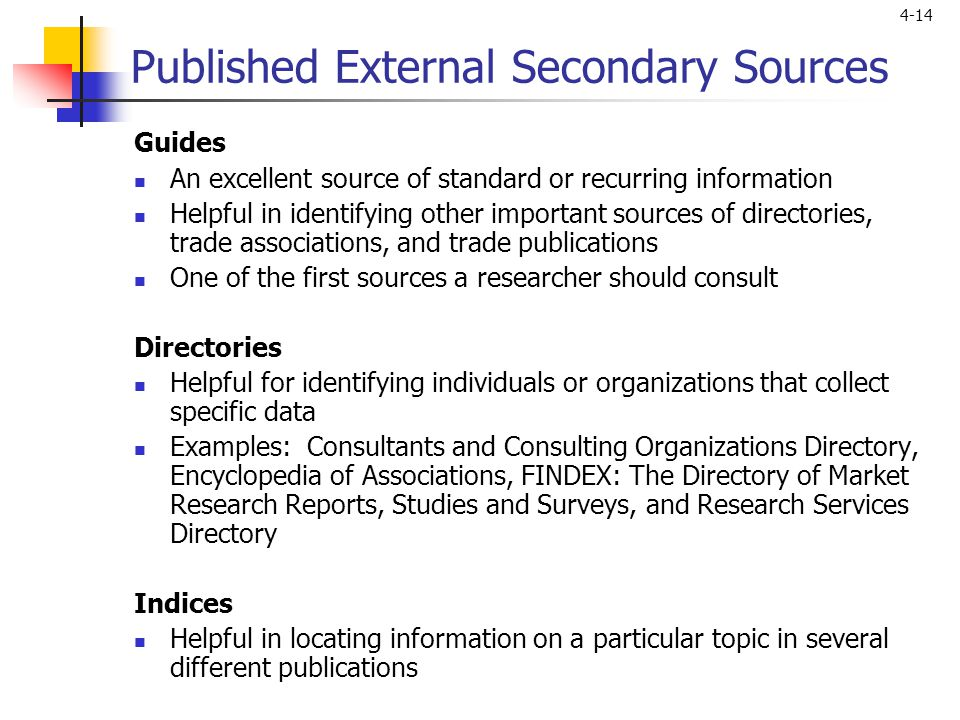 Published External Secondary Sources