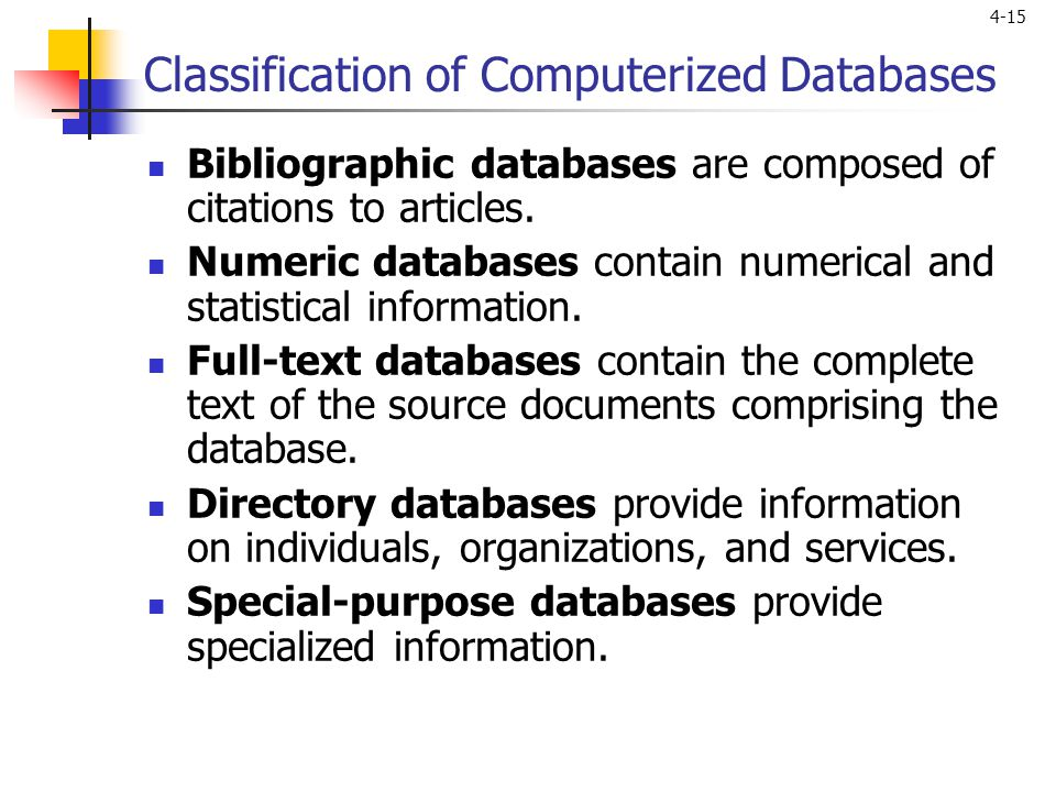 Classification of Computerized Databases