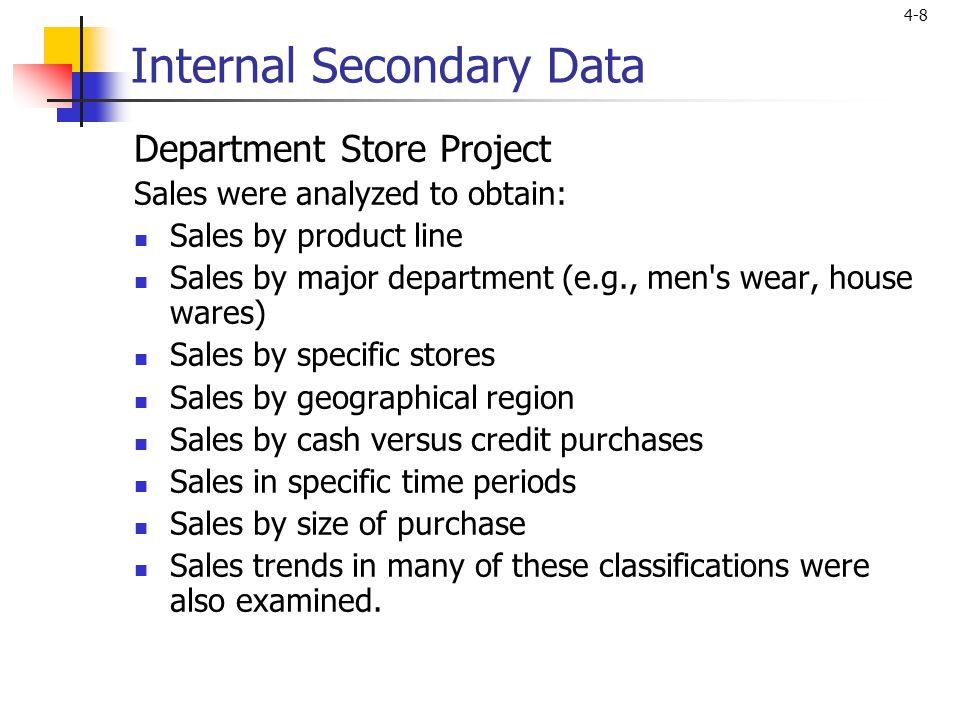 Internal Secondary Data