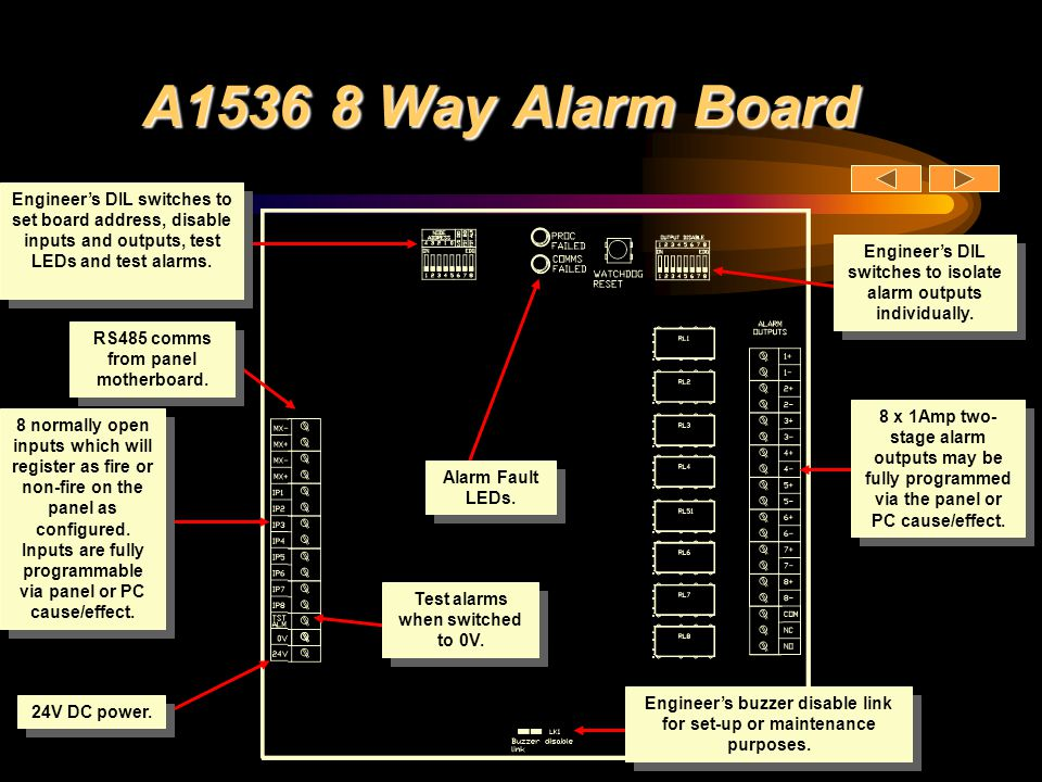 A1536 8 Way Alarm Board Engineer's DIL switches to set board address, disable inputs and outputs, test LEDs and test alarms.