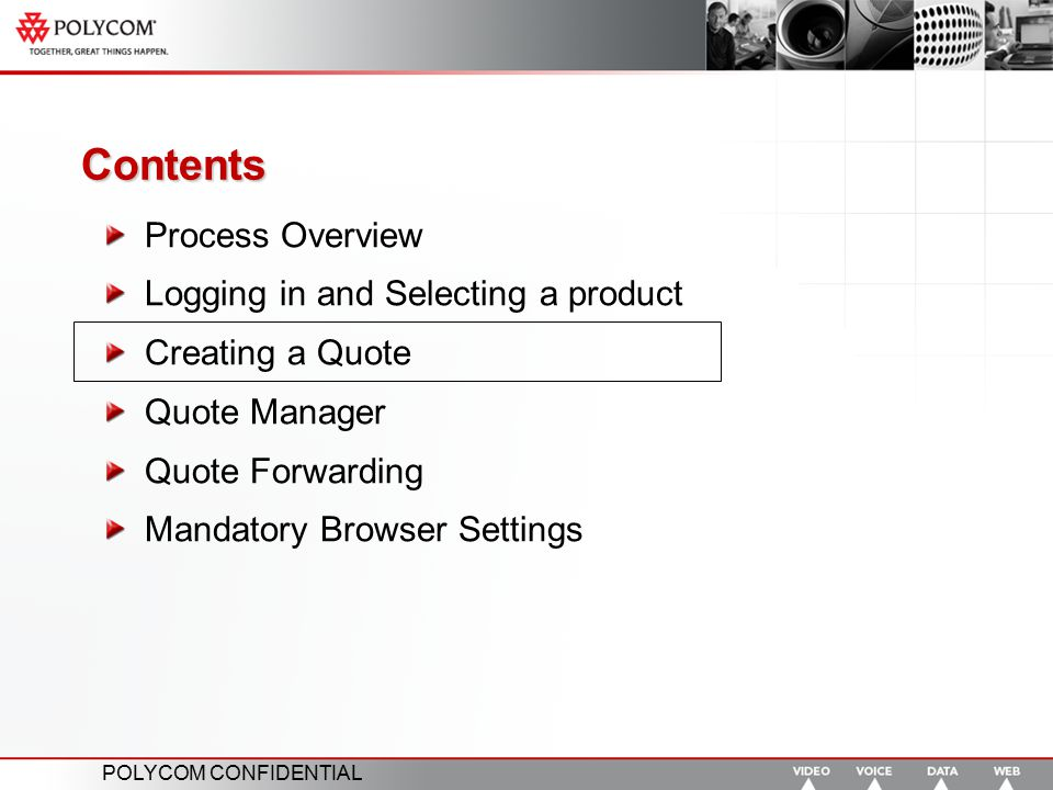 Contents Process Overview Logging in and Selecting a product