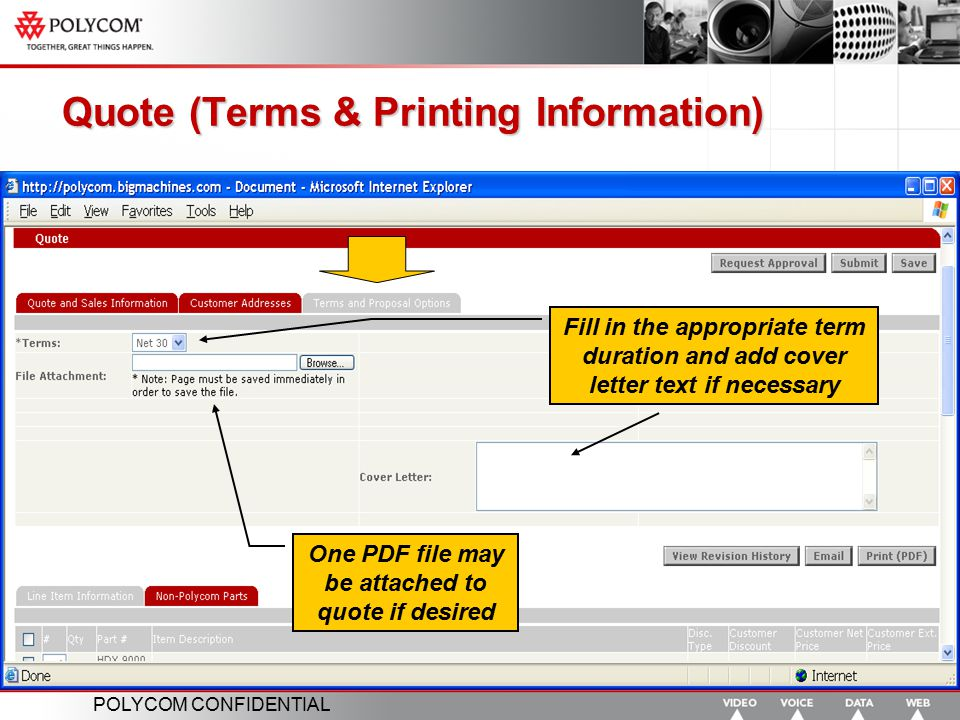 Quote (Terms & Printing Information)