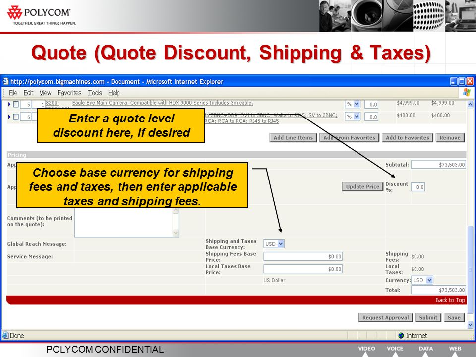 Quote (Quote Discount, Shipping & Taxes)