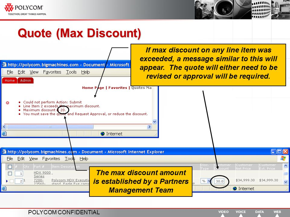 The max discount amount is established by a Partners Management Team