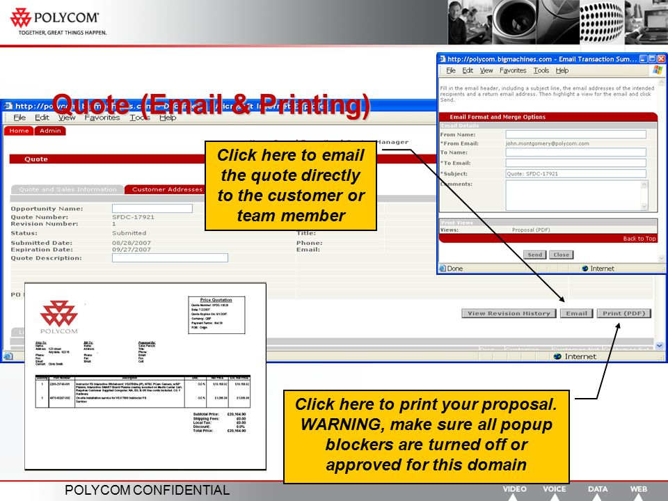 Quote (Email & Printing)