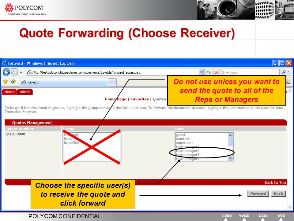 Quote Forwarding (Choose Receiver)