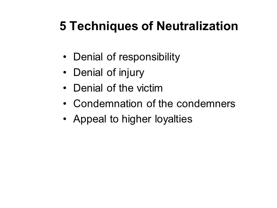 5 Techniques of Neutralization