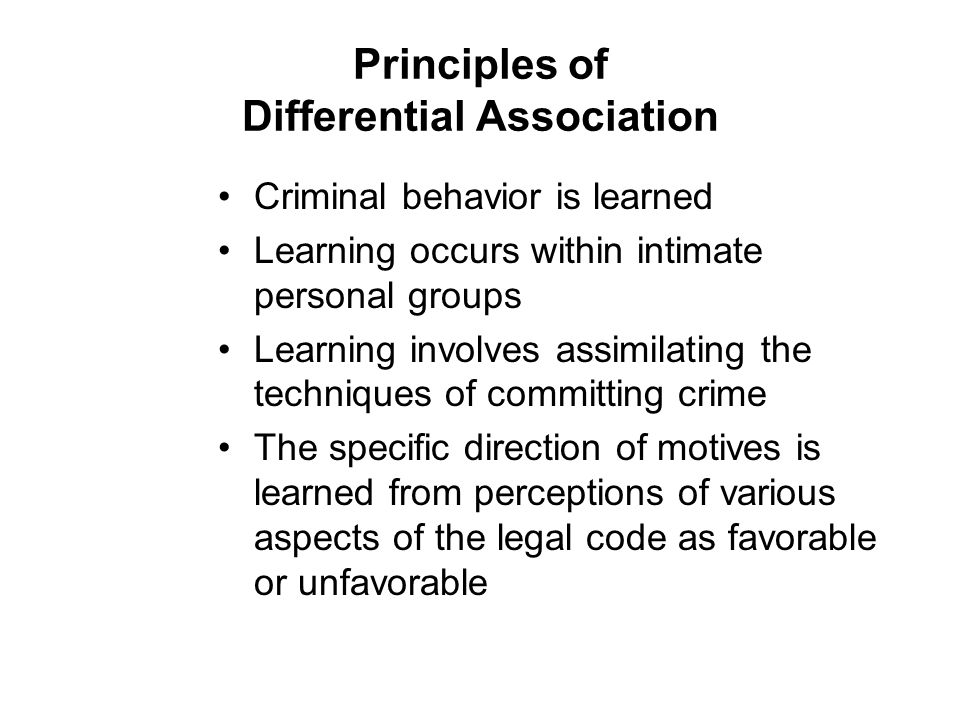 Principles of Differential Association