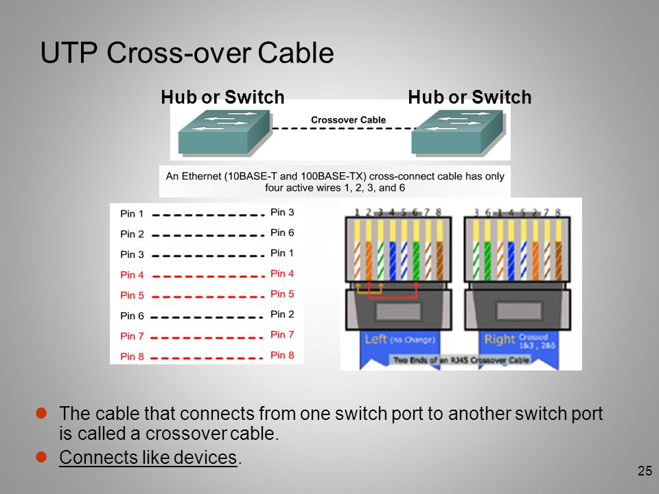 UTP Cross-over Cable Hub or Switch Hub or Switch