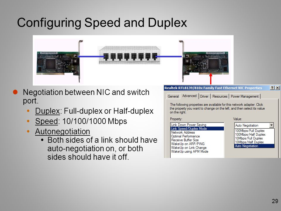 Configuring Speed and Duplex