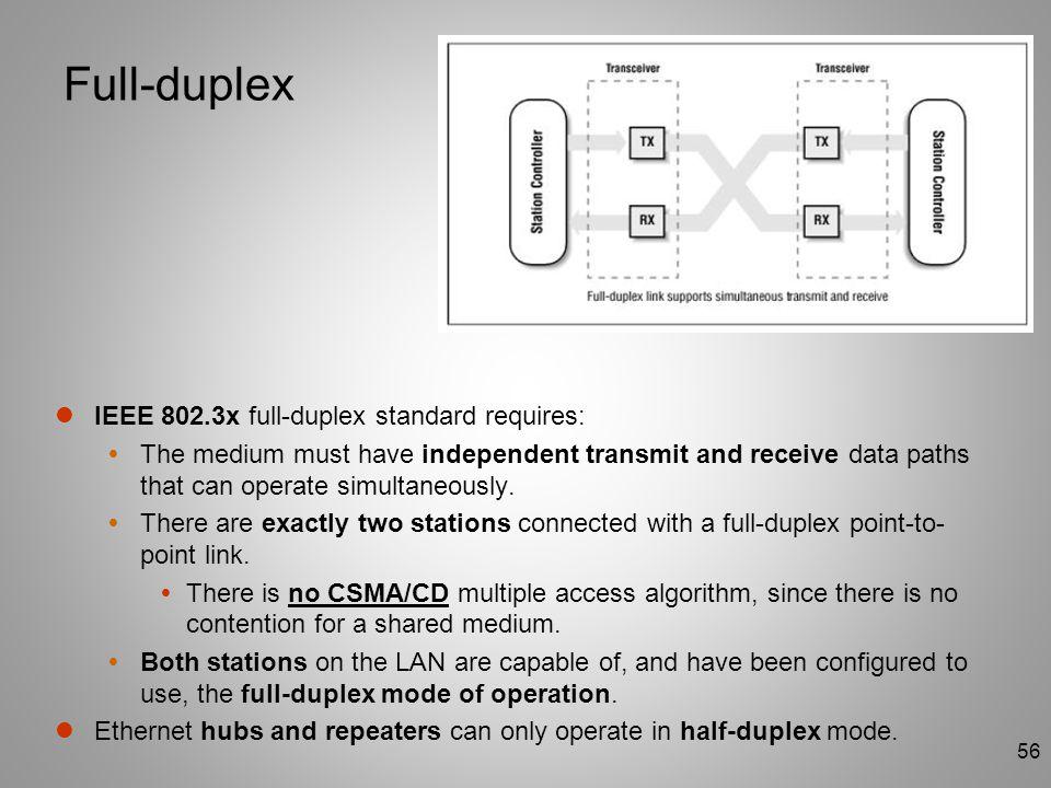 Full-duplex IEEE 802.3x full-duplex standard requires: