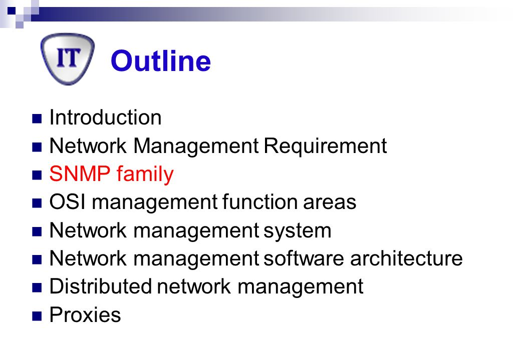 Outline Introduction Network Management Requirement SNMP family