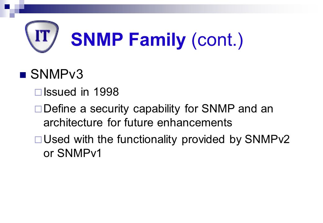 SNMP Family (cont.) SNMPv3 Issued in 1998