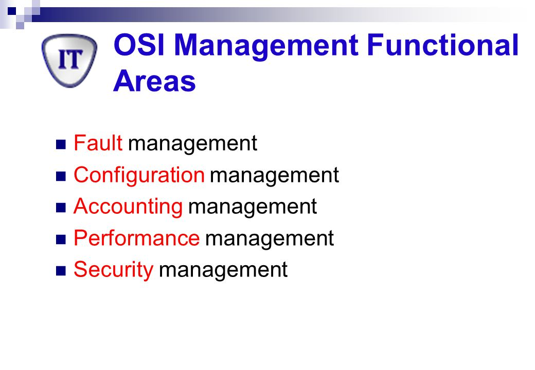 OSI Management Functional Areas