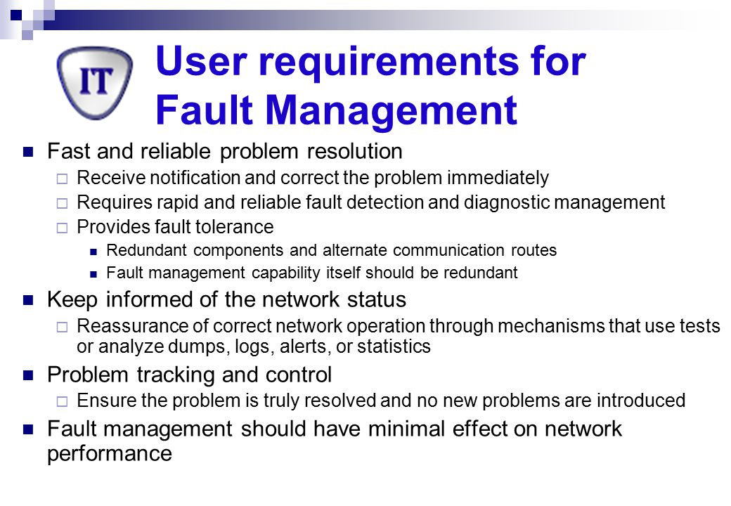 User requirements for Fault Management
