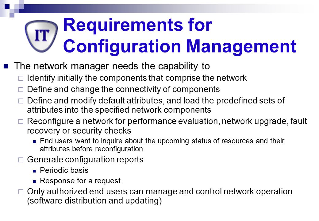Requirements for Configuration Management