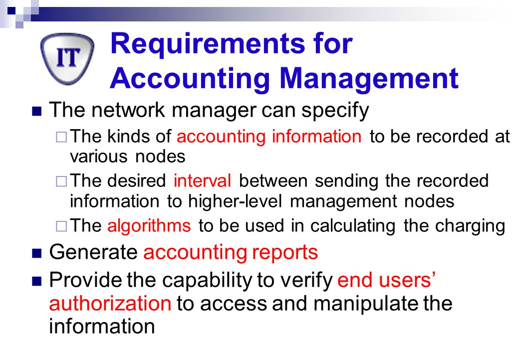 Requirements for Accounting Management