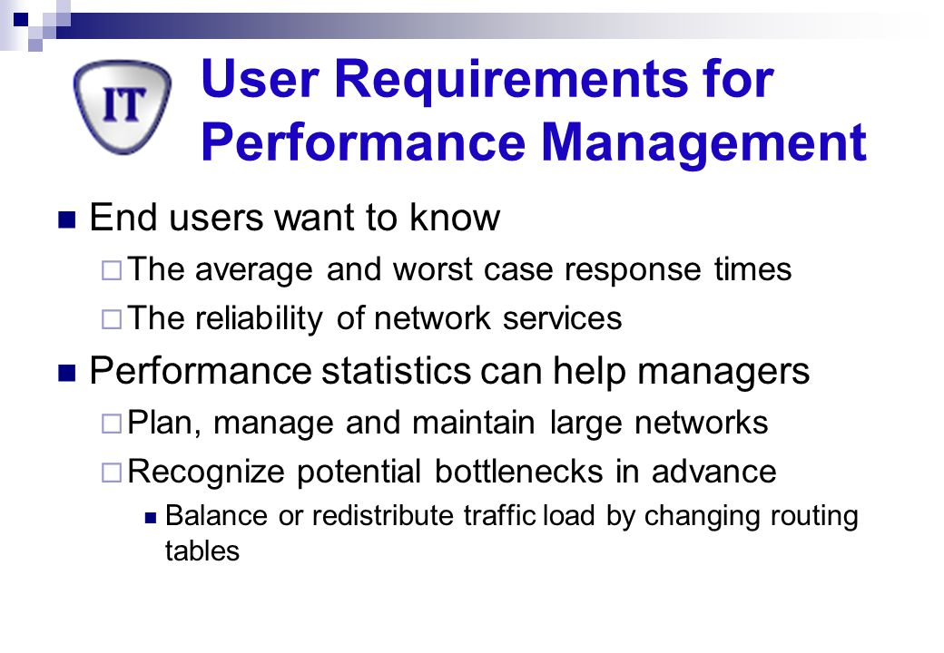 User Requirements for Performance Management