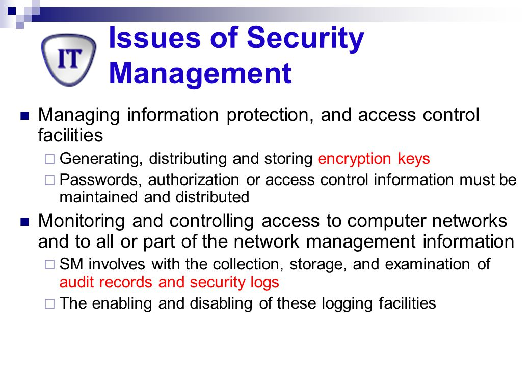 Issues of Security Management